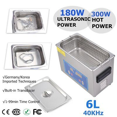 Stainless Steel 6 L Liter Industry Heated Ultrasonic Cleaner w/Timer Heater US G