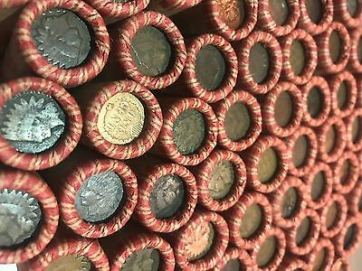 $ Wheat Penny Rolls With Indian Head Cents Showing Old Us Coin Lot Estate $