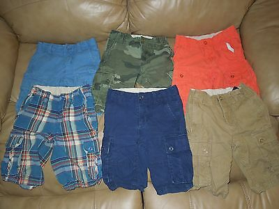 6 Pairs Boys Gap Kids Shorts Lot, Size 7 Regular, EUC, Blue,Orange,Tan FREE SHIP