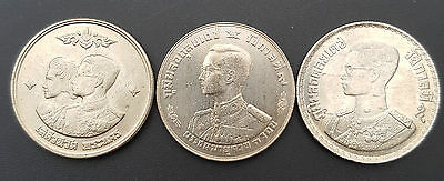 Thailand One Baht x 3 Coin King Rama IX and Queen UNC