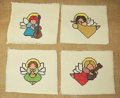 4 Angel Completed Cross Stitch Musical Angels Quilt Patch 6 in x 7 in Guitar