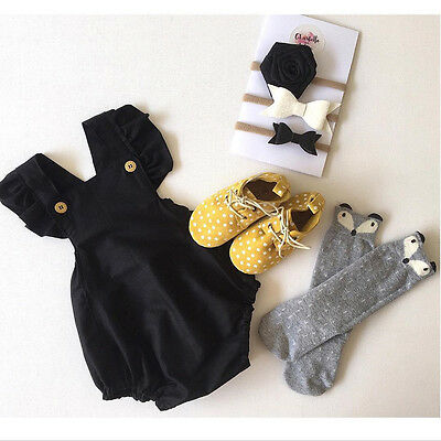 Newborn Infant Baby Girl Cotton Bodysuit Romper Jumpsuit Clothes Outfits Sunsuit