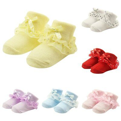 Lovely Infant Baby Girls Toddler bow-knot Lace Ruffle Frilly Cotton Ankle Socks