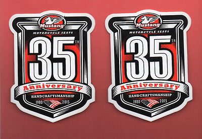 (2) Mustang Motorcycle Seats 35th Anniversary Decal/Sticker