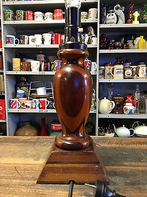 BRT Beautiful Art Deco 1940s Vintage Hand Crafted Inlaid Wooden Table Desk Lamp