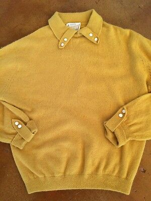 Vintage 1950s Angora Mix Mustard Small Sweater Jumper Cropped