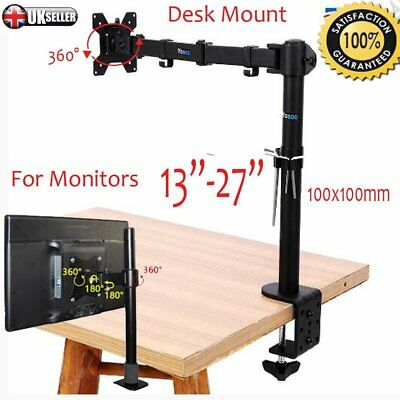 New Single Arm LCD LED Monitor TV Bracket Mount Desk Stand for 13-27