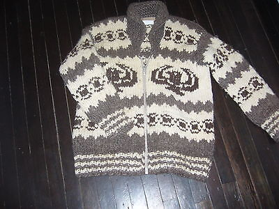 Vintage Authentic Cowichan Indian Sweater with Hills Indian Crafts Tag Adult Med