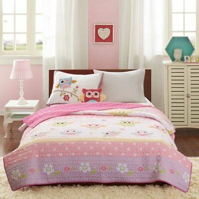 Mi Zone Kids Hooting Haley Twin Coverlet Set 3 Pcs NEW