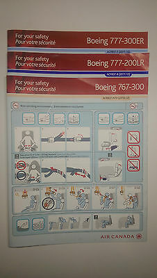 Air Canada Safety Cards 3pcs set