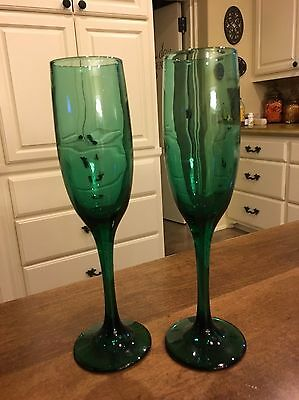 Libbey PREMIERE DARK GREEN Champagne Flutes - Set of 2