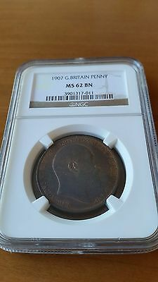 Great  Britain  1907 Edward  Vii  Penny  Ngc  Ms  62 Bn