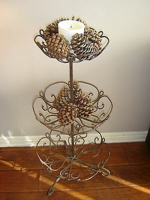 Antique Vintage Iron Stand Garden Decor Plant Home Display Scrolling Shabby