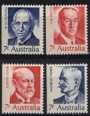 1972 AUSTRALIAN PRIME MINISTERS BOOKLET STAMPS SET x 4 x 7c ALL LEFT IMPERF MUH
