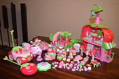 Strawberry Shortcake Playset 2008 Berry Cafe,Twirling Bird,Slide Playset and Car
