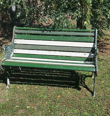 Lovely twotone timber garden bench seat. Floral castiron ends. Pick-up 3139