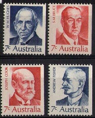 1972 AUSTRALIAN PRIME MINISTERS BOOKLET STAMPS SET x 4 x 7c ALL RIGHT IMPERF MUH