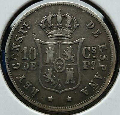 1885 Philippines 10 Centimos de Peso Old Silver Coin