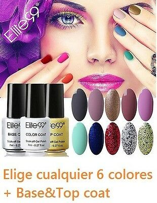 Elite99 Esmalte de Uña Gel Kit Conjunto Duradero Soak Off UV LED Manicura 8pcs