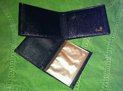 Vintage Beautiful new cond black leather BREVONI antique mens wallet