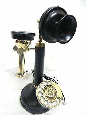 Antique / Vintage Look Black / Brass Candlestick Telephone Rotary Dial Phone