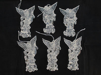 Clear Acrylic Winged ANGEL Playing a Lute Set 6