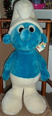"""Giant Vintage 35"""" Plush Smurf Doll With Tags , 1982 PEREGO, VERY RARE! L@@K"""