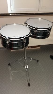 """Timbales set 14"""" and 15"""" double braced stand"""