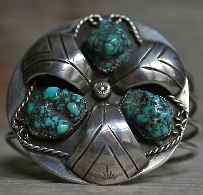 Outstanding Old Pawn Vintage Navajo Native Turquoise Sterling Silver Bracelet
