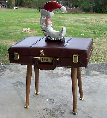 Unique VTG Suitcase Briefcase Brown Side Table File Storage Handmade Wooden Legs