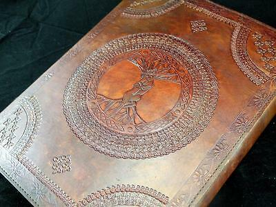 Large HandmadeTREE of LIFE Leather Photo Album Wedding Album with LOVERS Design