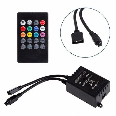 Music Sound Activated Controller For RGB LED Light Strip 20 Key Remote 12V DC