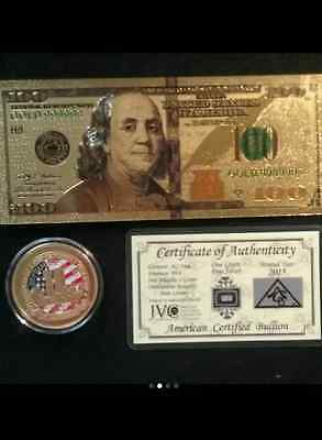 1 OF A KIND GOLD $100 Rep.*Banknote+9/11 COMMEMORATIVE-Coin&SILVER Bar FREE S&H