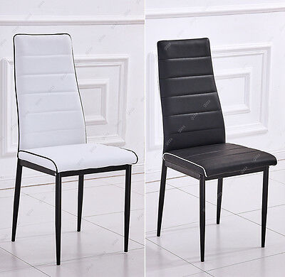 Contrast Color Dining Chairs Single Black White Piping Faux Leather Metal Furnit