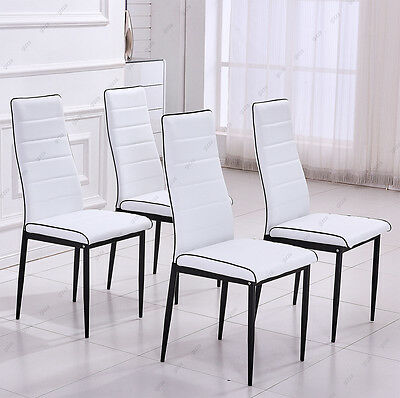 4x Black Leather Dining Chairs Piping High Back Kitchen White Furniture