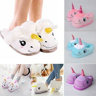 Women's Novelty 3D Cotton Character Plush Unicorn Slippers Winter Warm Shoes AU