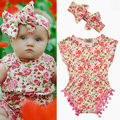 US STOCK 2PCS Newborn Baby Girl Bodysuit Floral Romper Jumpsuit Outfits Clothes