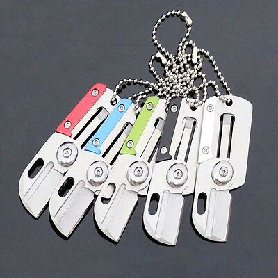 Dog Tag Folder Knife EDC Survival Tool Hunting Outdoor Mini Stainless Key Holder