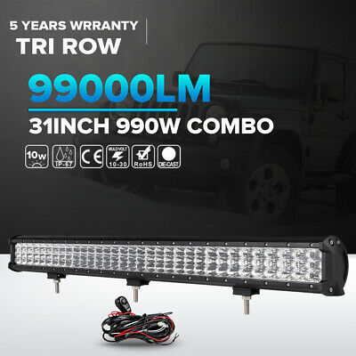 Tri Row CREE 990W 31inch LED Light Bar Spot Flood SUV 4WD Jeep Truck UTE ATV 30""