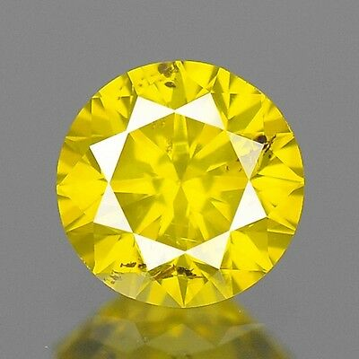 0.33ct 4.3mm Rare Natural Diamond Round Fancy Yellow Loose Diamonds Free Ship