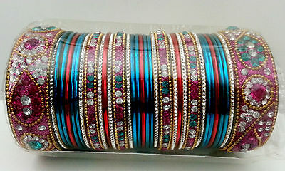 Indian Belly Dance Bollywood Wedding Bridal Jewelry Multi Color Bracelet Bangles