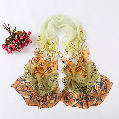 Hot Fashion Women Lady Printed Roses Long Soft Chiffon Silk Scarf Wraps Shawls