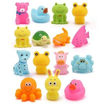 5PCS Baby Bath Toys Assorted Animal Floating Squeaky Soft Rubber Kids Toy Gift
