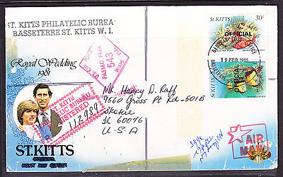 St Kitts 1985 Registered R112989 Royal Wedding Cover to USA