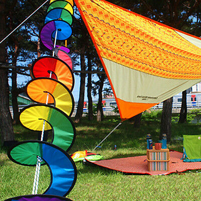 Foldable Rainbow Spiral Windmill Wind Spinner Camping Tent Home Garden Decor 7Y2