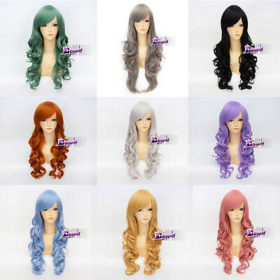 Basic Cosplay 70cm Women Heat Resistant Curly Wig Anime Party Hair + Free  Cap