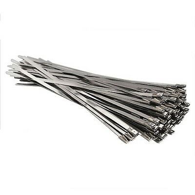 100pcs Stainless Steel Locking Cable Zip Ties Silver (4.6x300mm) I8O3
