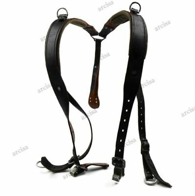 Original Austrian army Y-Strap black leather suspenders harness shoulder
