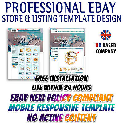 Gorgeous eBay Store Shop Template, Matching Listing Mobile Responsive Templates