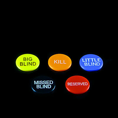 5 PC Set Plastic Big Blind Small Blind Button Texas Hold'Em Poker Card Game Prop